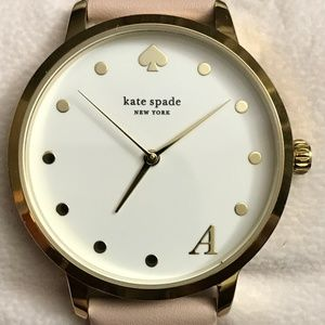 """kate spade 34mm Metro """"A"""" Leather Strap Watch"""